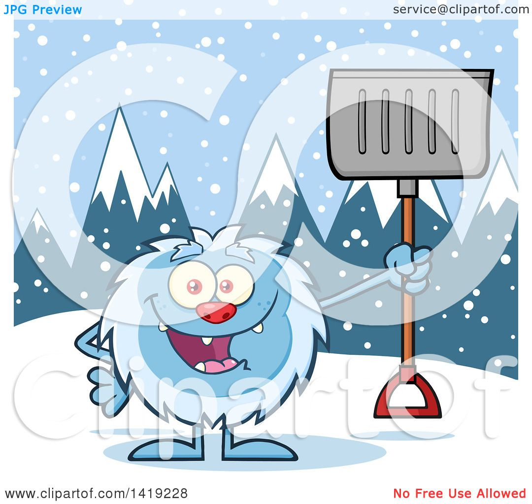 Clipart of a Cartoon Yeti Abominable Snowman Holding a Shovel in ...