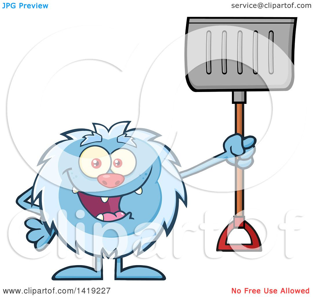 Clipart of a Cartoon Yeti Abominable Snowman Holding a Snow Shovel ...