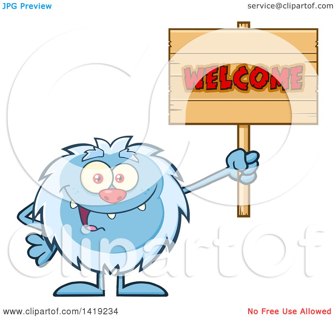 Clipart of a Cartoon Yeti Abominable Snowman Holding a Welcome ...