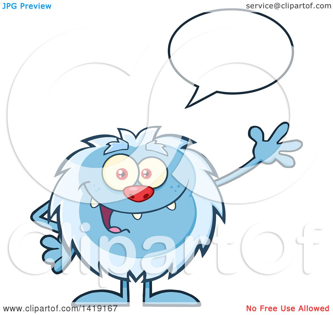 Clipart of a Cartoon Yeti Abominable Snowman Talking and Waving ...
