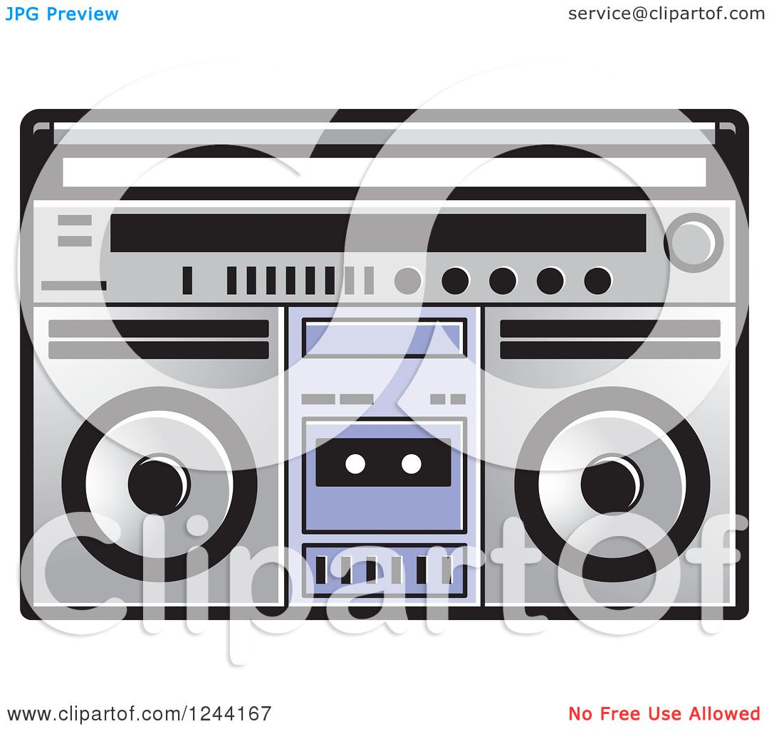 Clipart of a Cassette Tape in a Boom Box - Royalty Free Vector ...