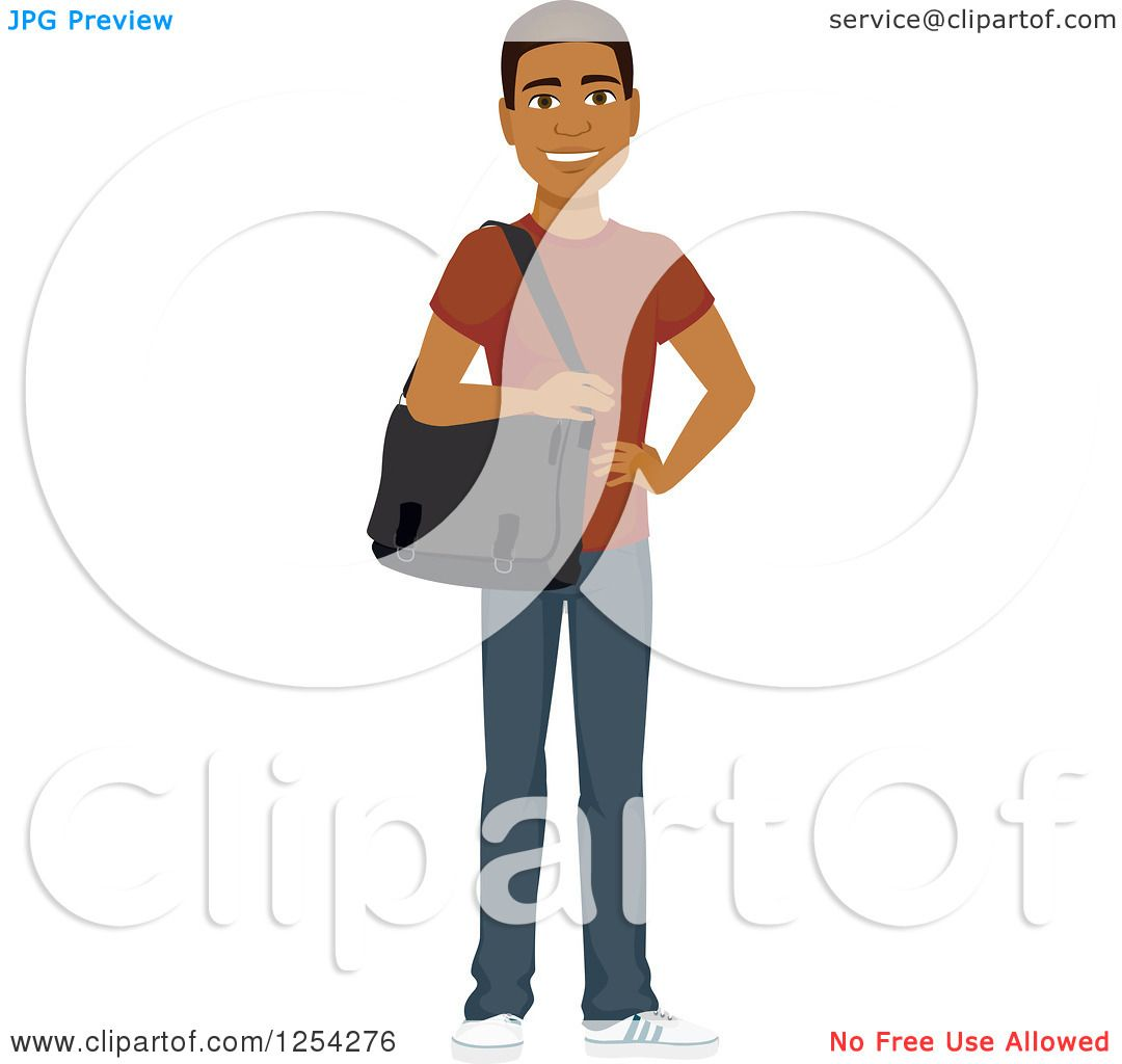 Clipart of a Casual Handsome Young Black Man Carrying a Laptop Bag ...
