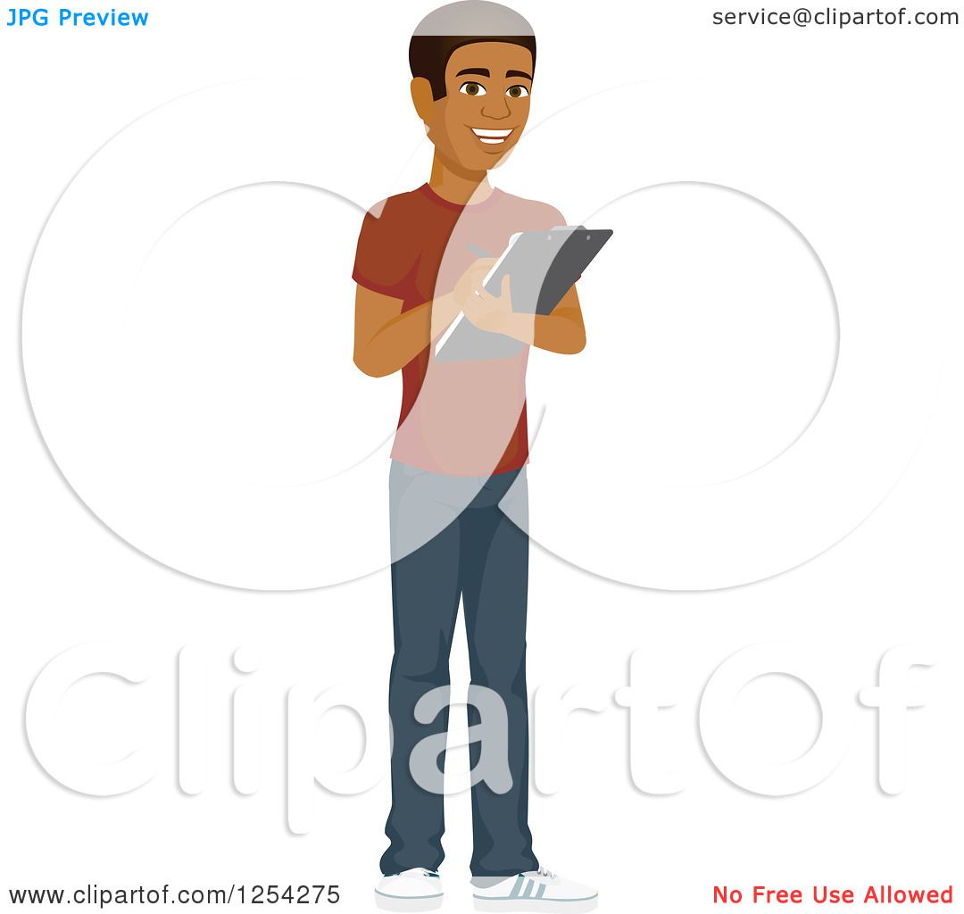 Clipart of a Casual Handsome Young Black Man Taking Notes ...
