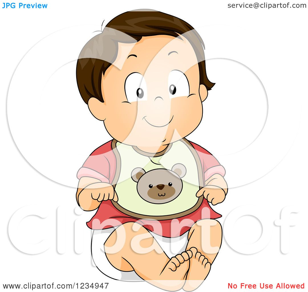 Clipart of a Caucasian Baby Boy Wearing a Bear Bib - Royalty Free ...