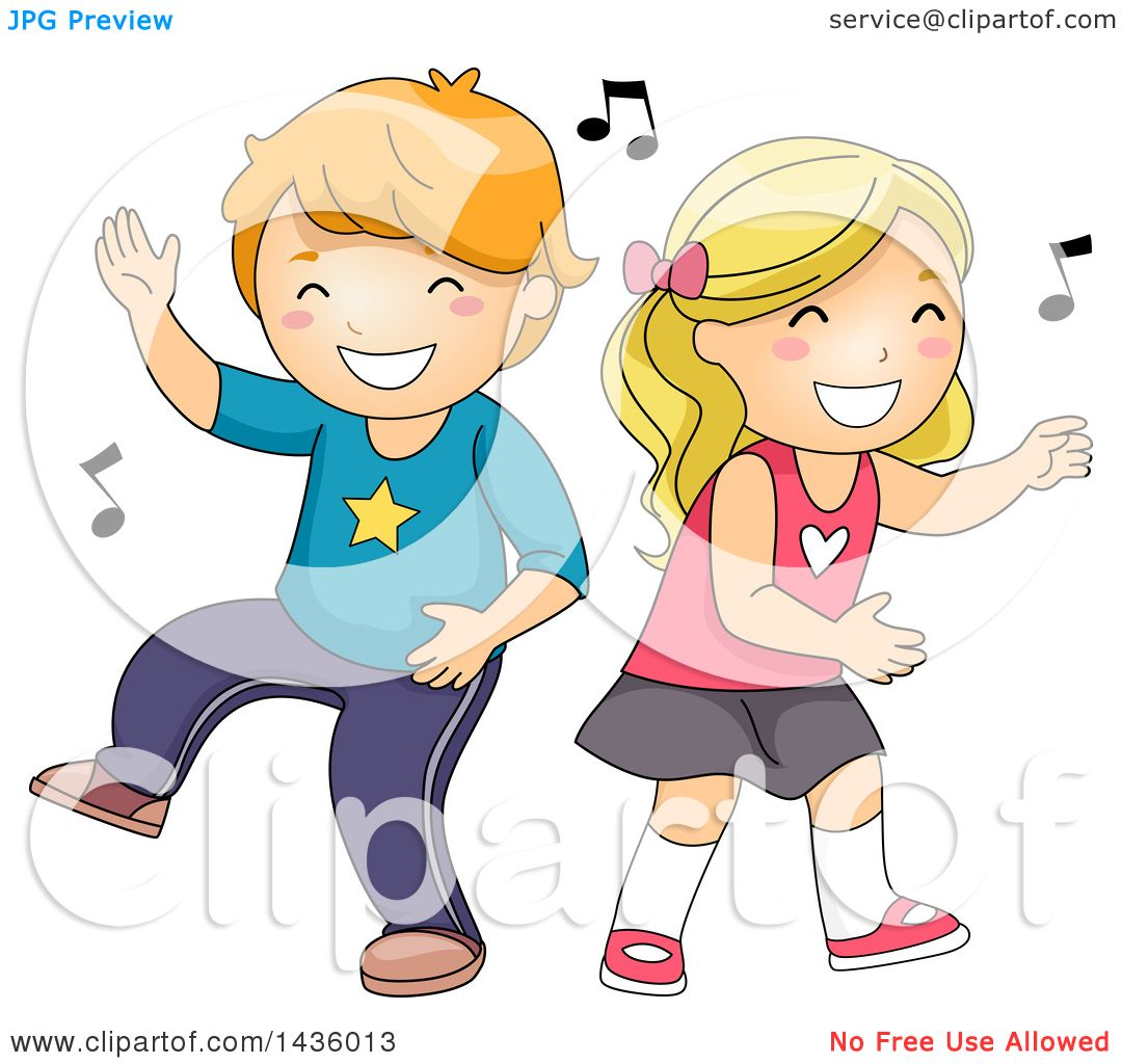 Clipart Of A Caucasian Boy And Girl Dancing To Music -1100