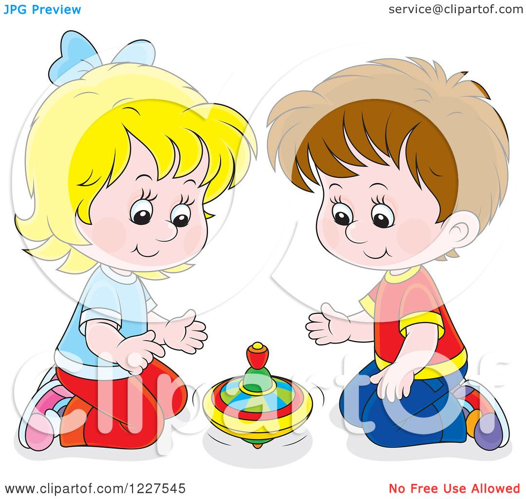 Clipart Of A Caucasian Boy And Girl Playing With Toy Top