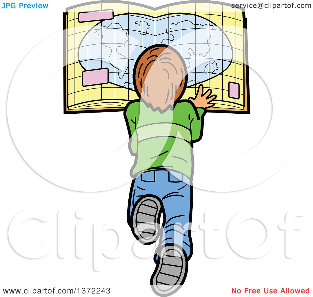Clipart Of A Caucasian Boy Laying on the Floor and Reading a Map - Royalty Free Vector ...