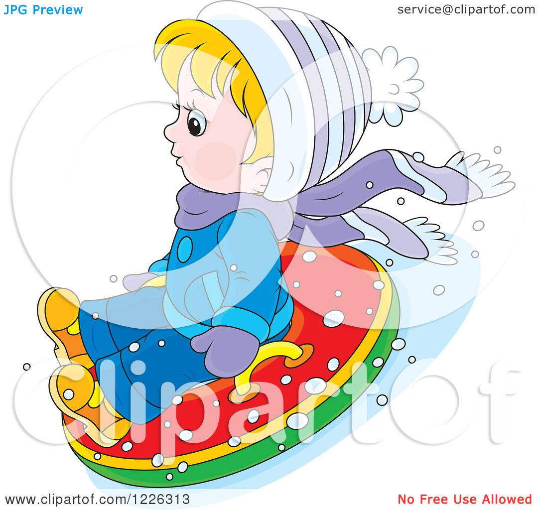 Clipart of a Caucasian Boy Snow Tubing - Royalty Free Vector ...
