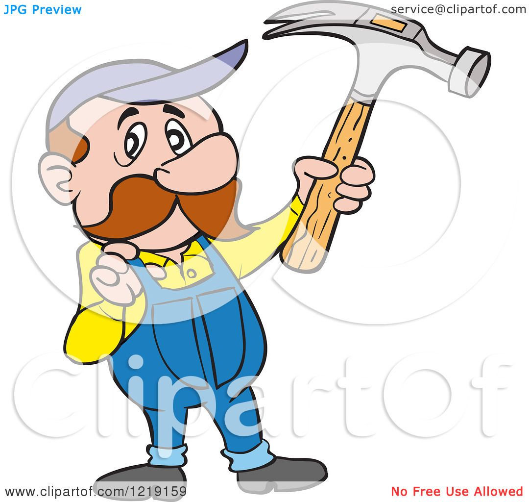 Clipart of a Caucasian Carpenter Man Holding up a Hammer and ...