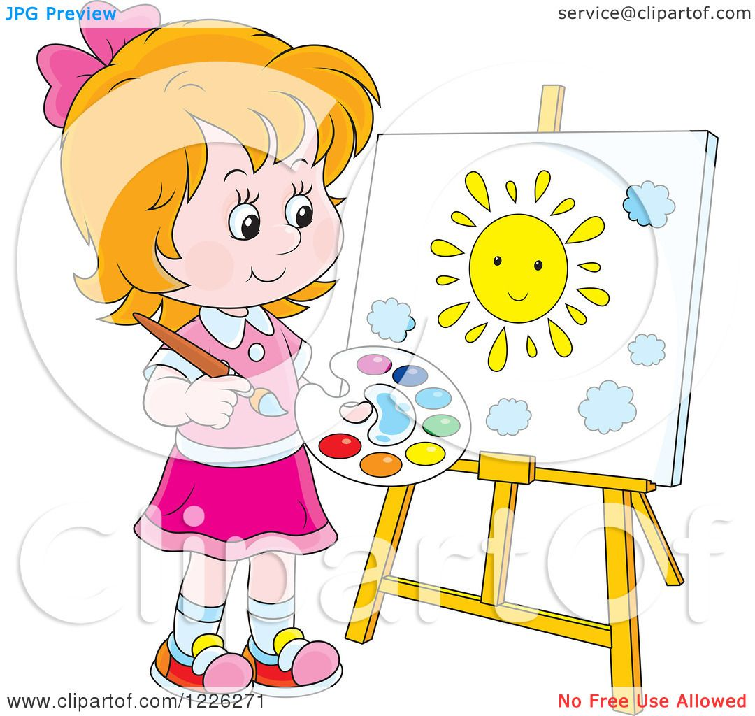 Clipart Of A Caucasian Girl Painting Sun On Canvas