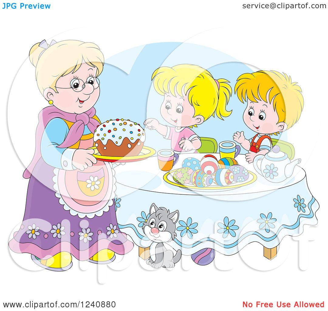 Clipart of a Caucasian Granny Serving an Easter Cake to ...