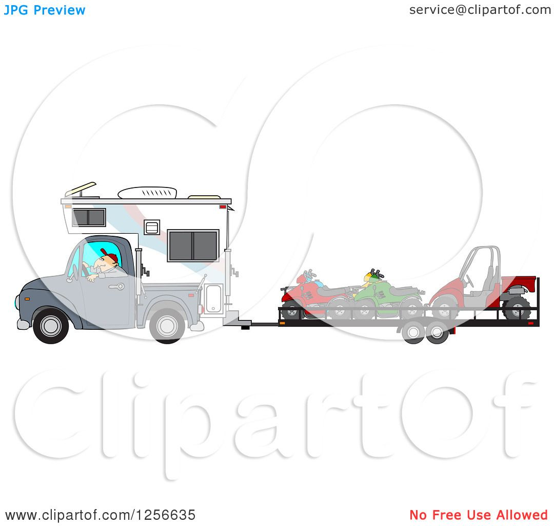 Clipart of a Caucasian Man Driving a Truck and Camper and