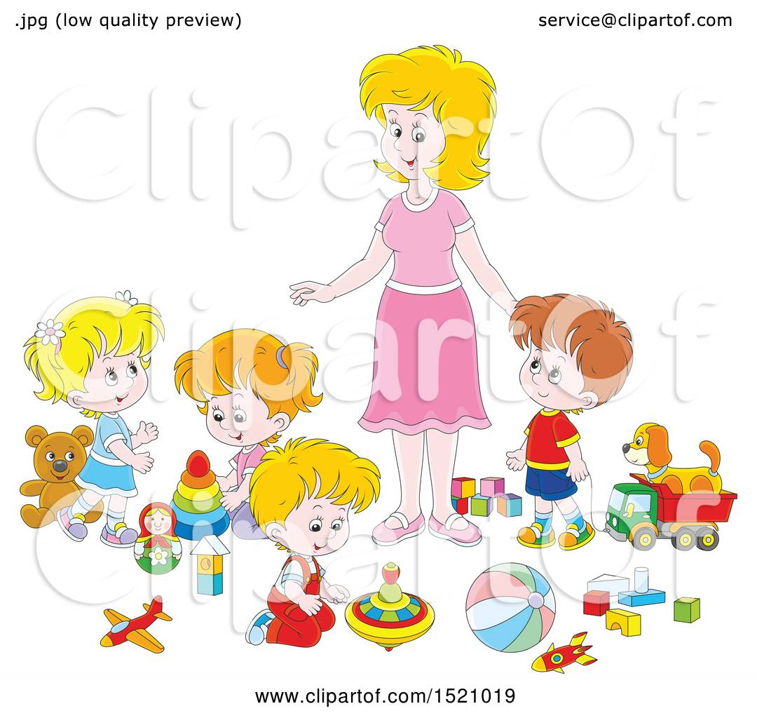 Clipart of a Caucasian Mom or Daycare Provider Supervising ...