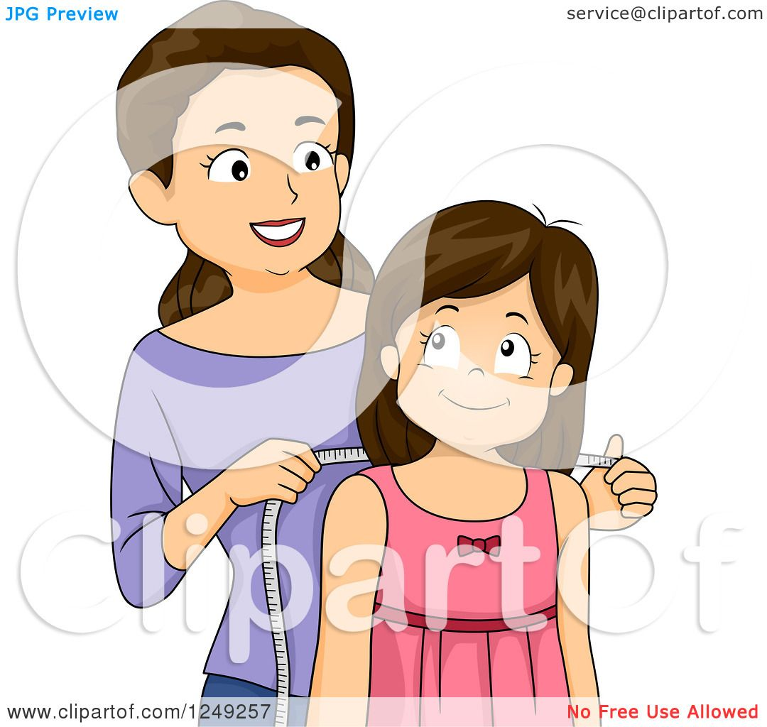 Clipart Of A Caucasian Mother Measuring Her Daughter To