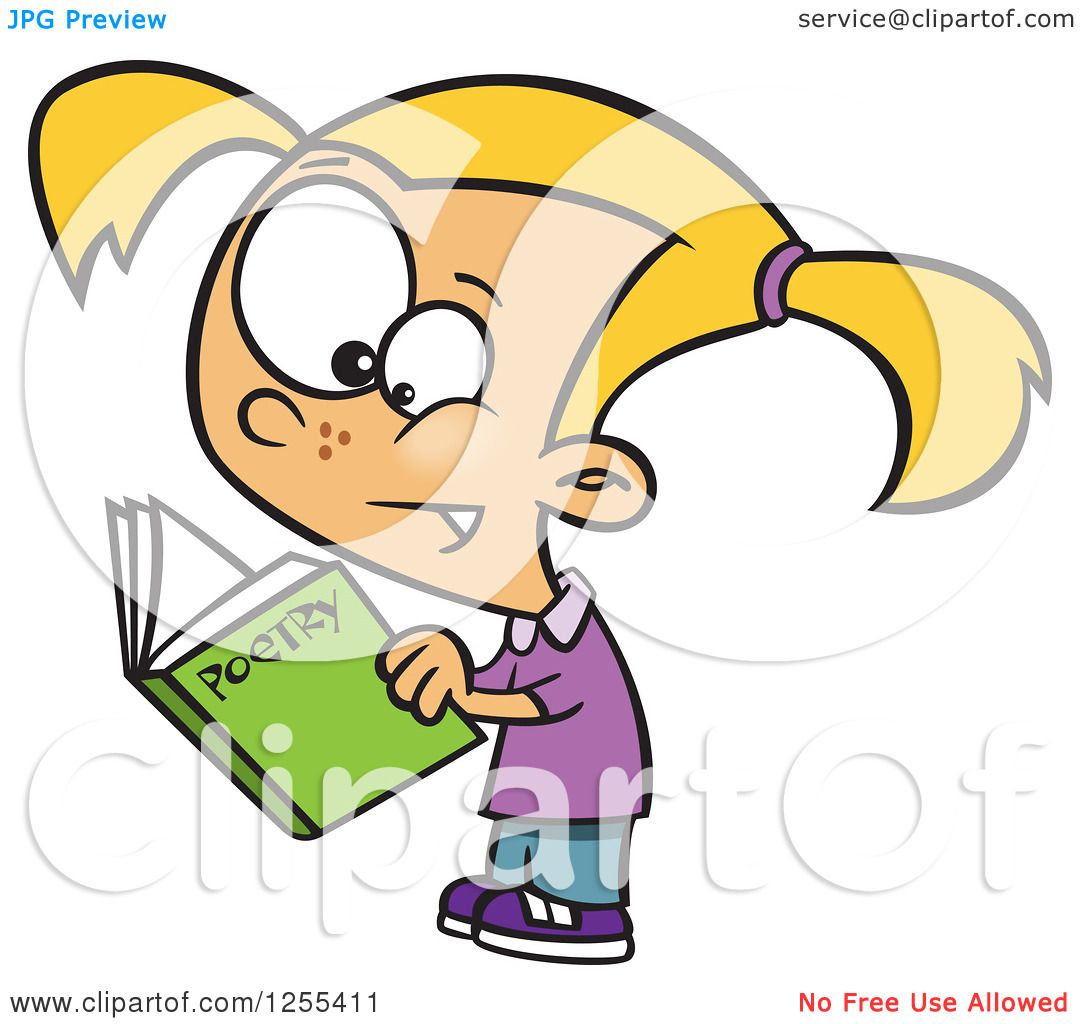 Clipart Of A Caucasian School Girl Reading Poetry Book Royalty