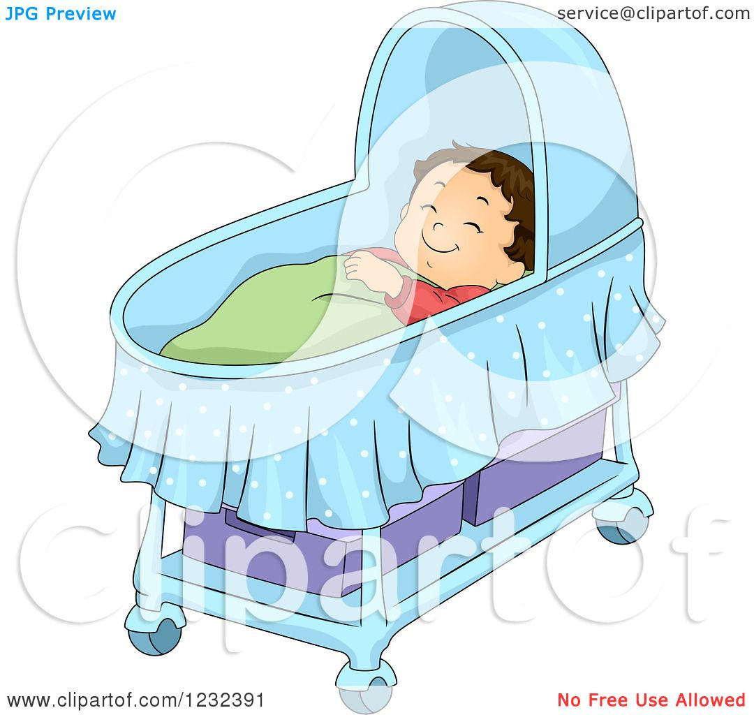 Clipart of a Caucasian Toddler Boy Sleeping in a Bassinet ...