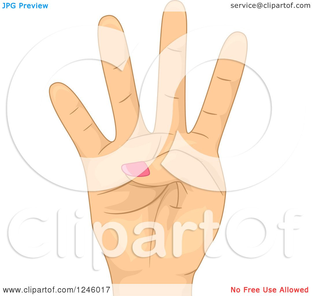 Clipart of a Caucasian Woman's Hand Holding up Four ...