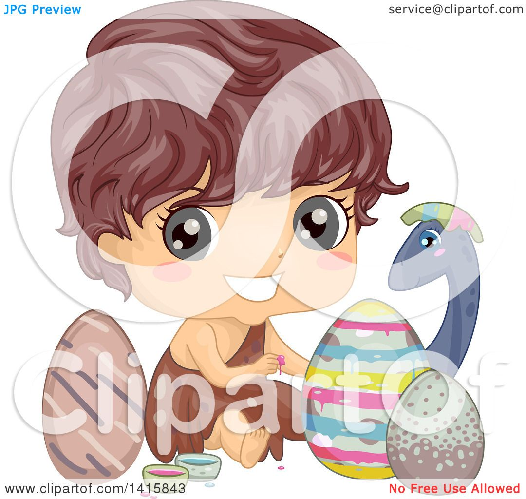 Clipart Of A Caveman Boy Painting Dinosaur Eggs For Easter