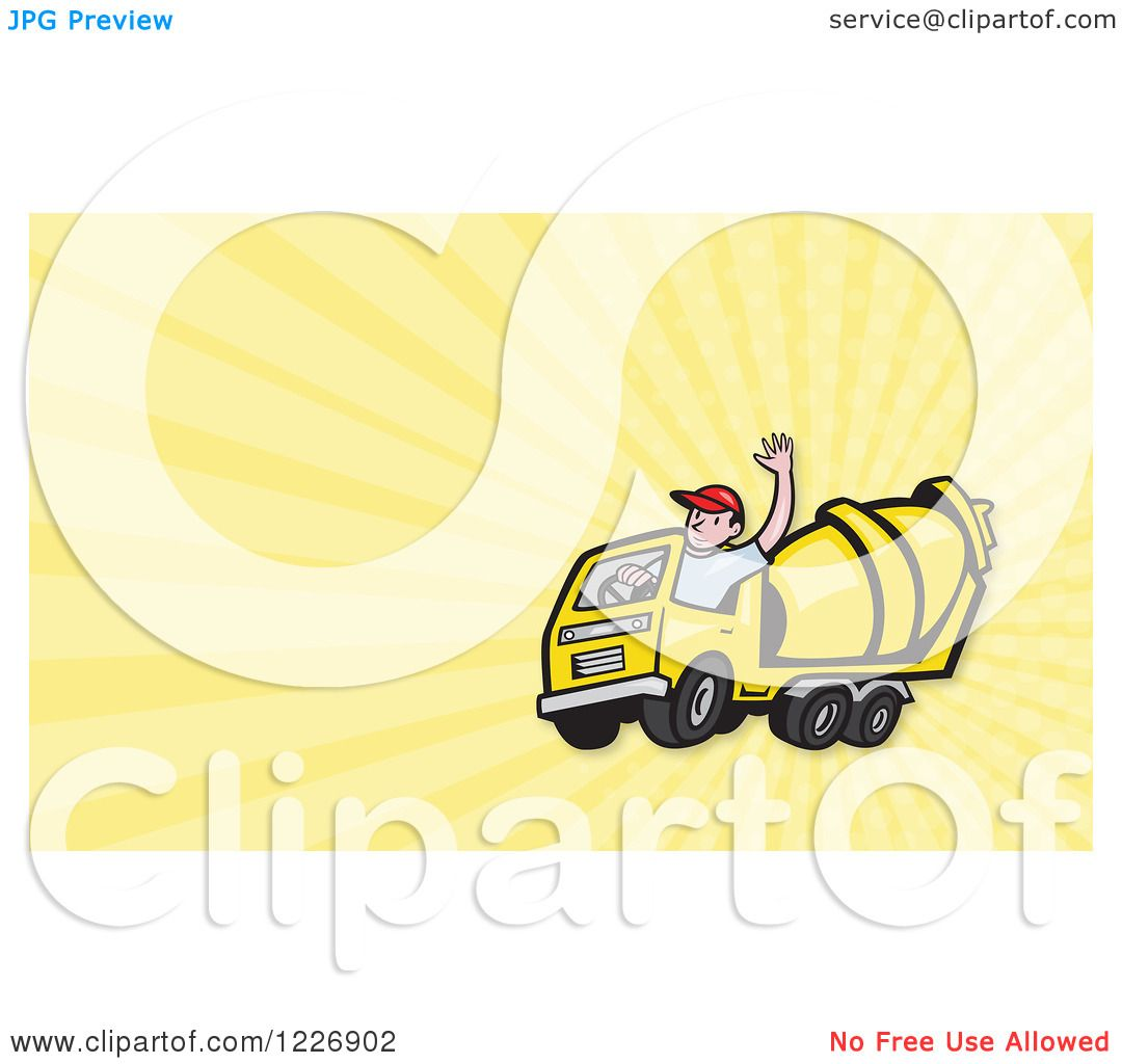 clipart of a cement mixer truck driver and rays background or business card design royalty. Black Bedroom Furniture Sets. Home Design Ideas