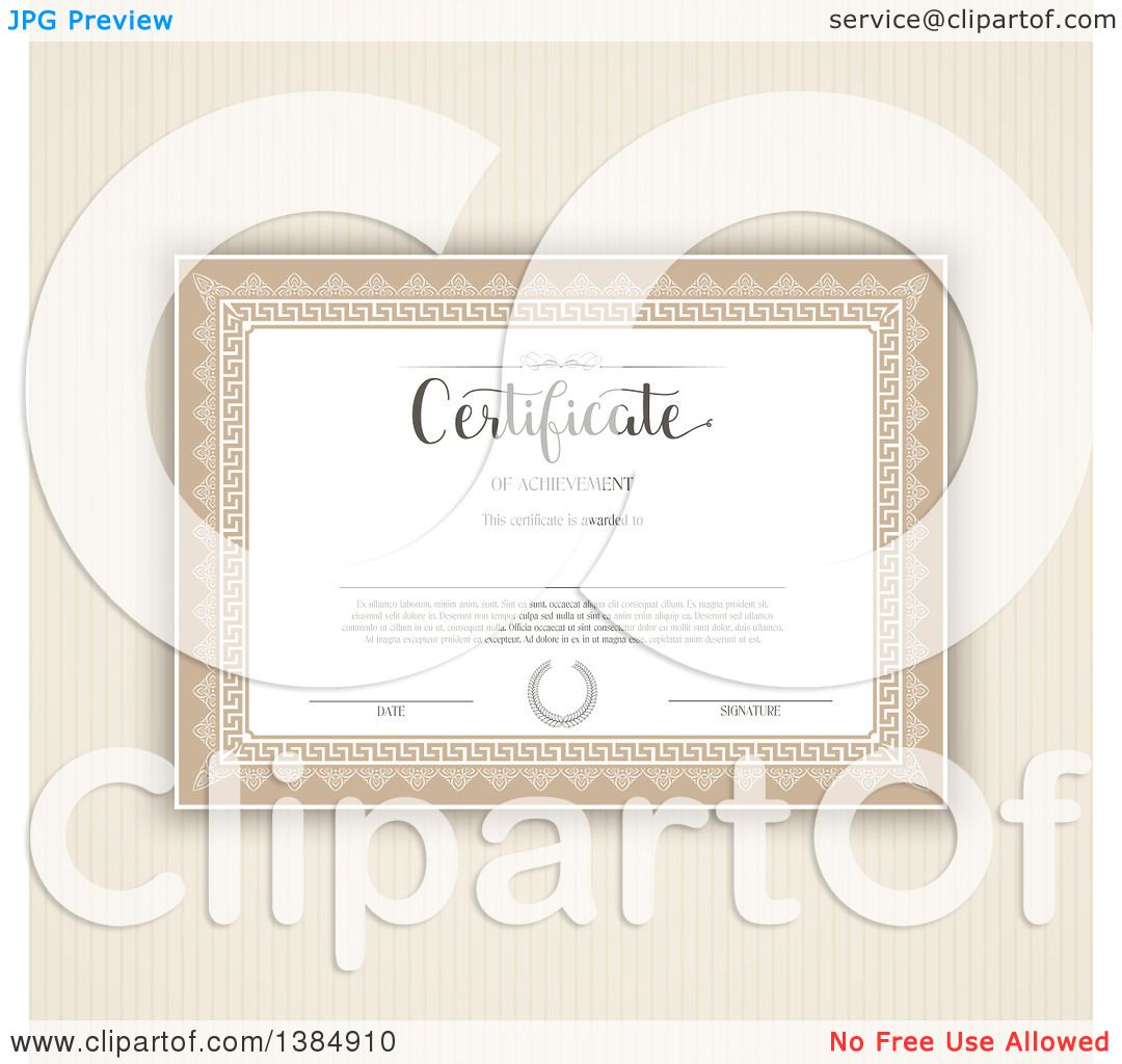 Clipart Of A Certificate Template With Sample Text Over Brown