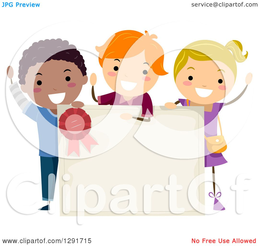Royalty free rf certificate clipart illustrations vector clipart of a cheering girl and school boys around a blank certificate royalty free vector illustration xflitez Images