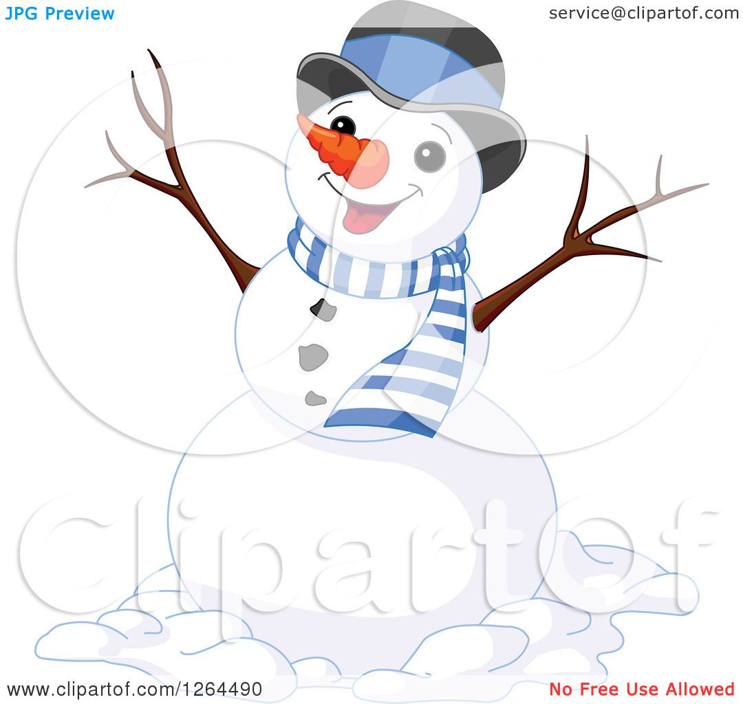 Clipart Of A Cheering Snowman In A Top Hat And Scarf