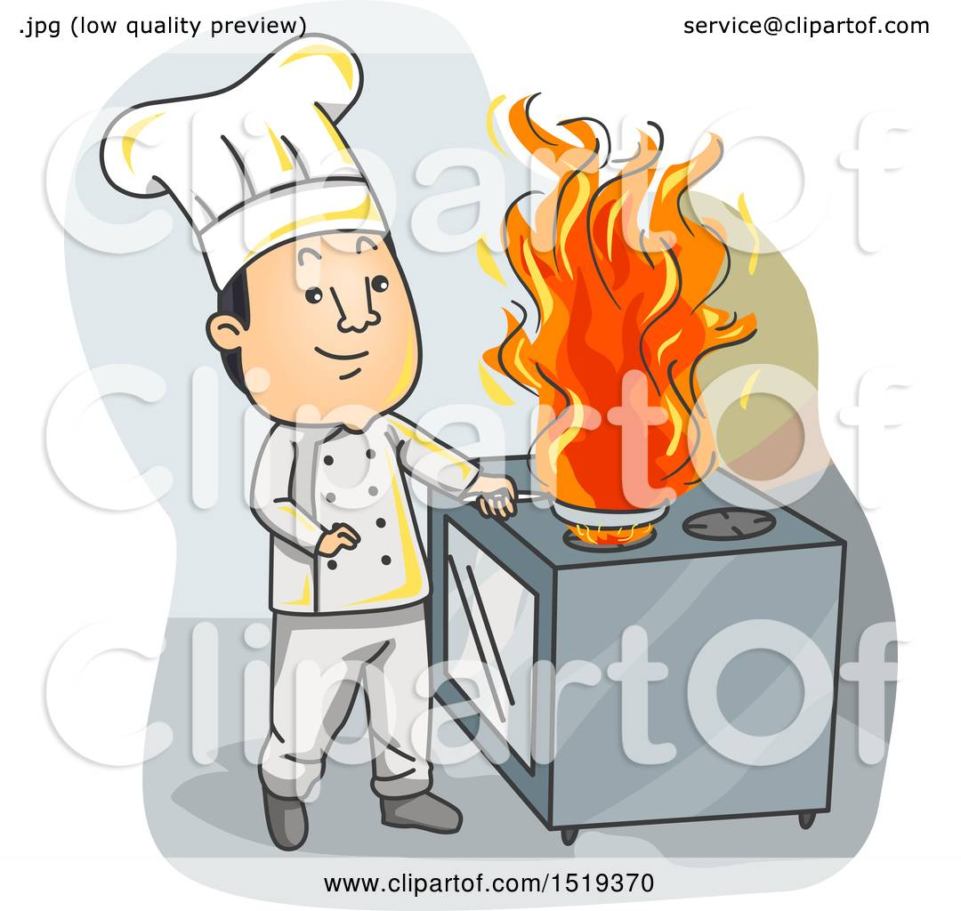 Clipart Of A Chef Cooking With Fire In A Kitchen Royalty