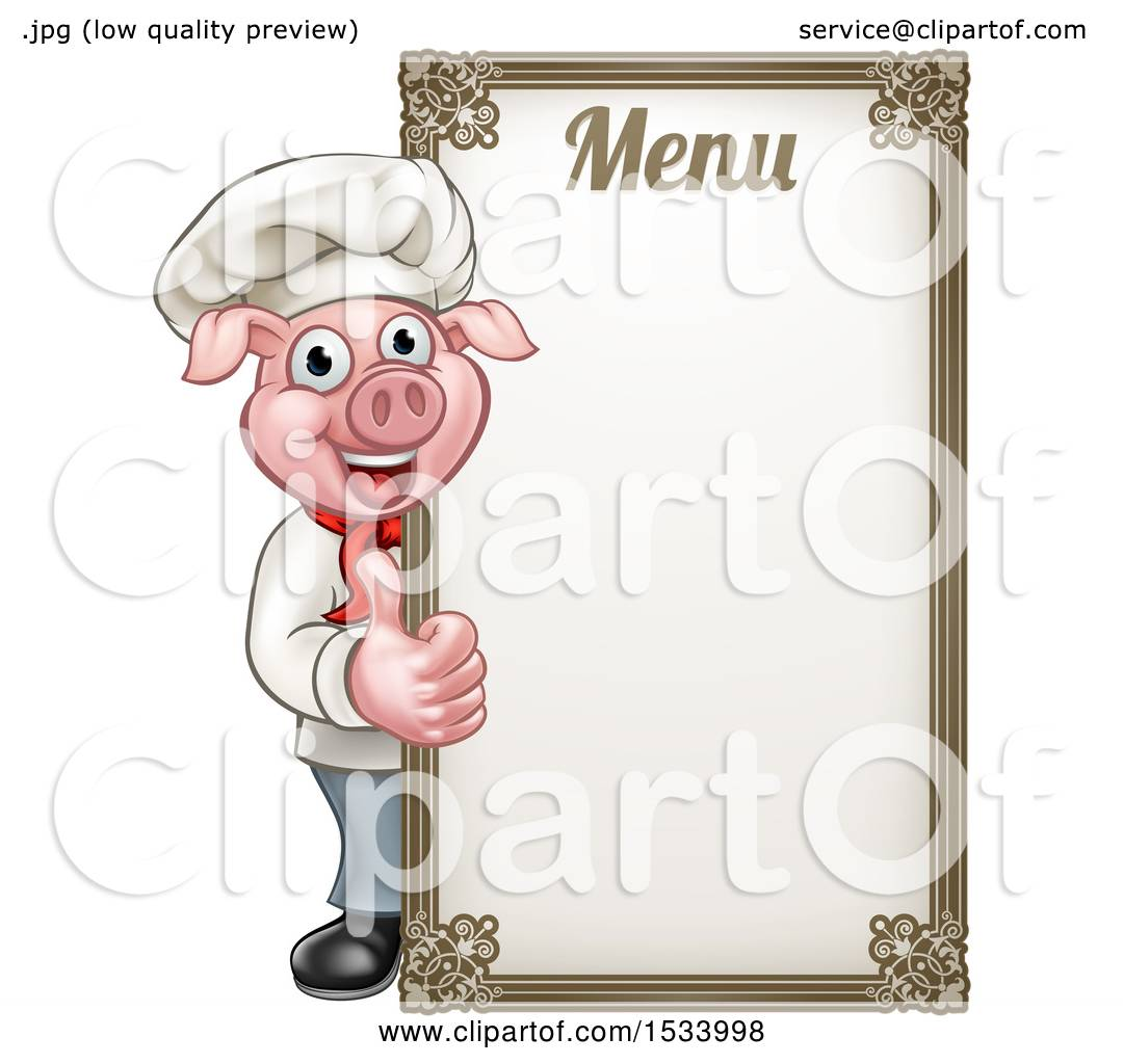 clipart of a chef pig giving a thumb up around a menu board