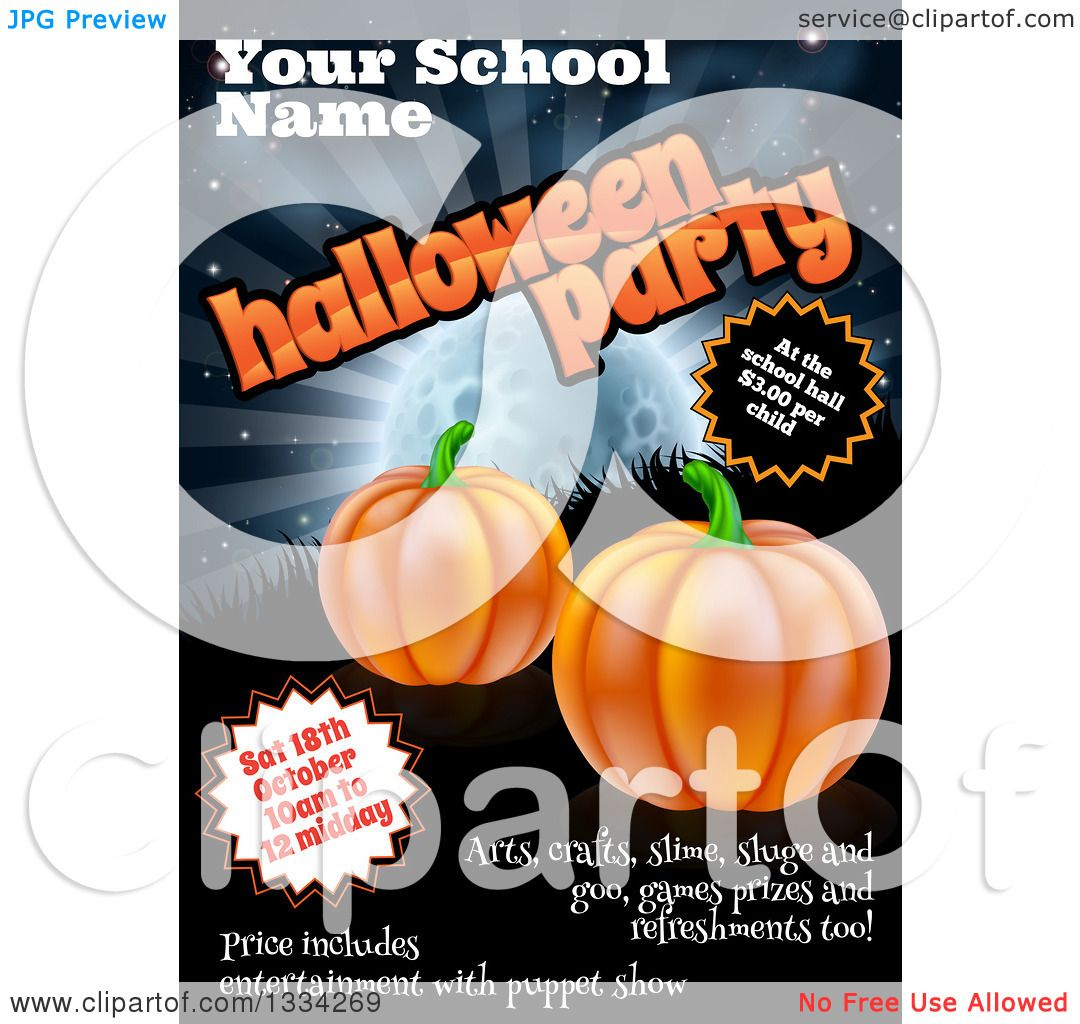 Poster design sample - Clipart Of A Childrens School Halloween Party Poster Design With Sample Text A Full Moon Grass And Pumpkins Royalty Free Vector Illustration By