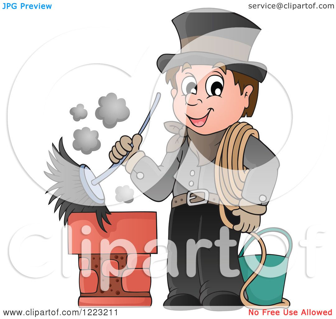 Clipart of a chimney sweep man holding a brush royalty - Clipart illustration ...