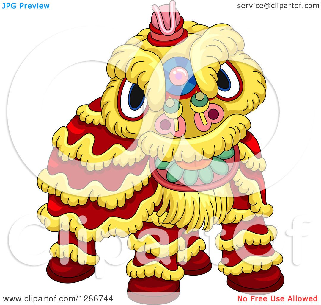 Lion Dancing Clipart Clipart of a Chinese Lion