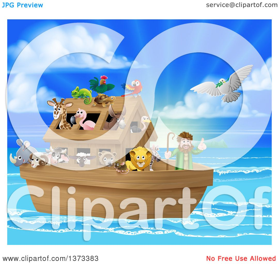 Clipart Of A Christian Bible Story Scene Of Noah On His