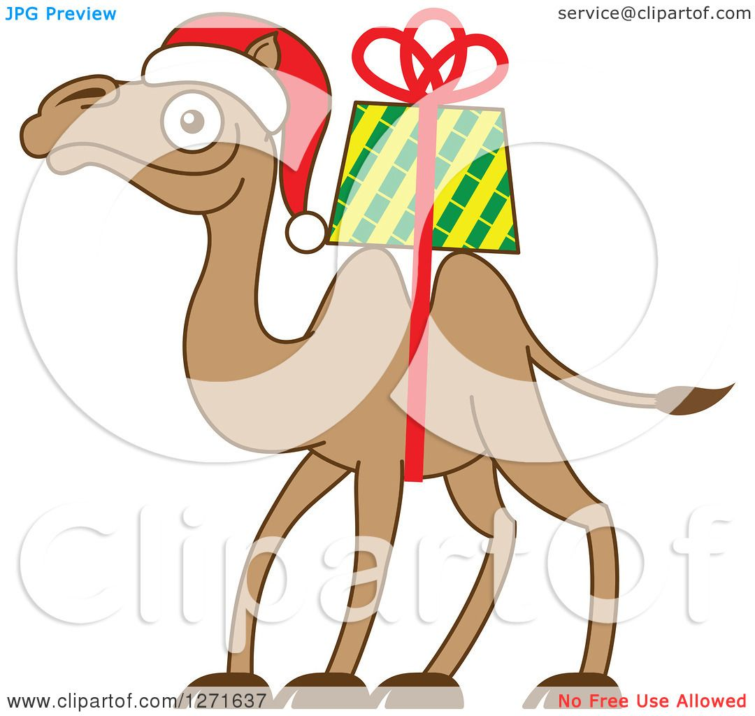 Clipart of a Christmas Camel with a Gift Strapped on His Back ...