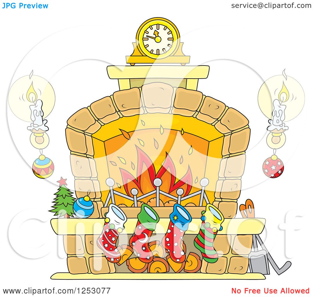 Clipart of a Christmas Fireplace with Candles and Stockings ...