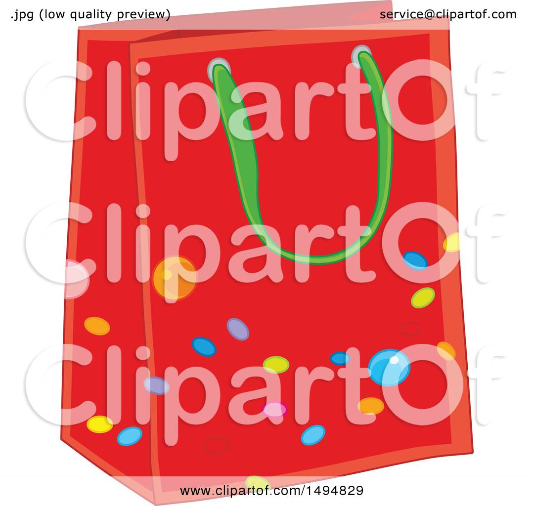 Clipart Of A Christmas Gift Bag