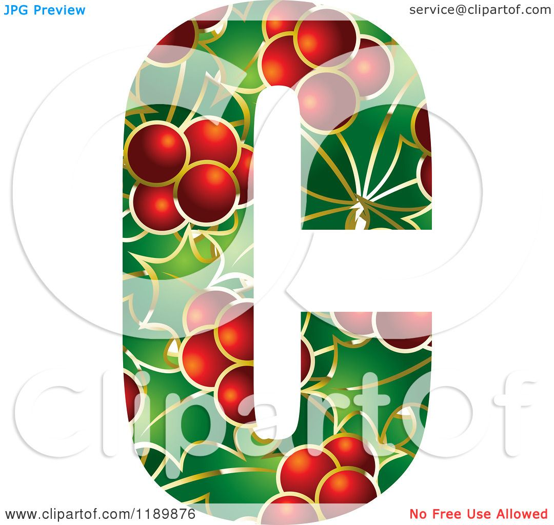 Clipart Of A Christmas Holly And Berry Capital Letter C