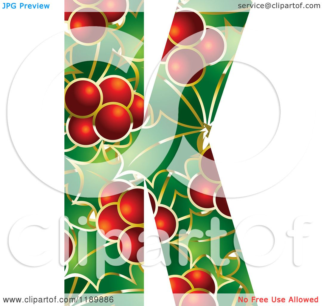 Clipart of a Christmas Holly and Berry Capital Letter K - Royalty ...