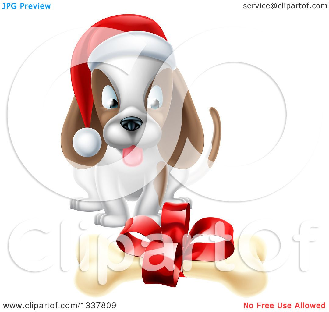 Clipart of a Christmas Puppy Dog Sitting and Looking at a Gift ...