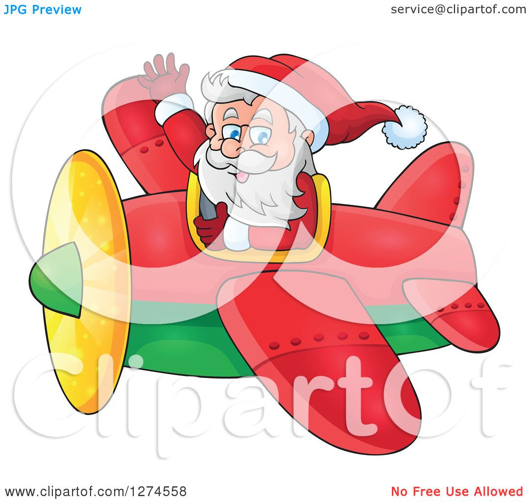 clipart of a christmas santa claus flying a plane and waving