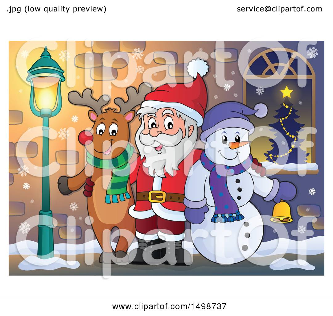 clipart of a christmas santa claus with a reindeer and snowman royalty free vector illustration by visekart - Santa And Snowman