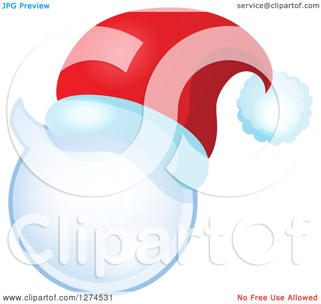 Clipart of a Christmas Santa Hat on a Speech Bubble - Royalty Free ...