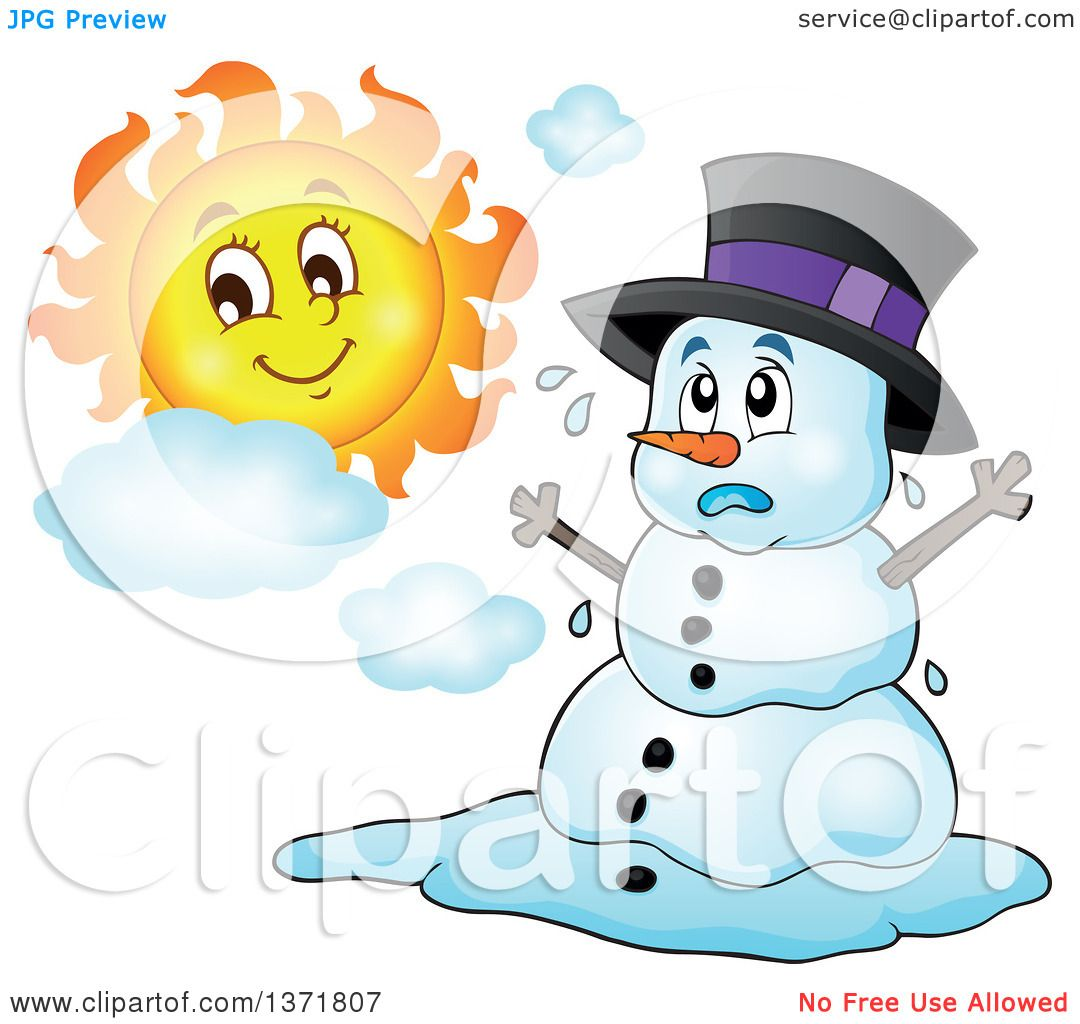 Clipart of a Christmas Snowman Melting Under the Shining ...