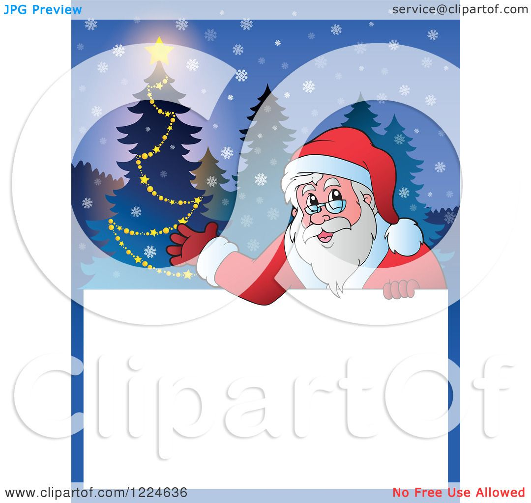 Clipart of a Christmas Text Box with Santa Presenting and ...