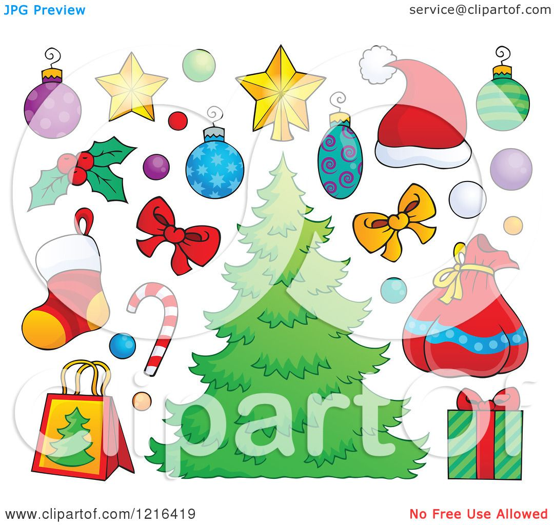 Christmas Tree Items: Clipart Of A Christmas Tree With Decorations And Holiday