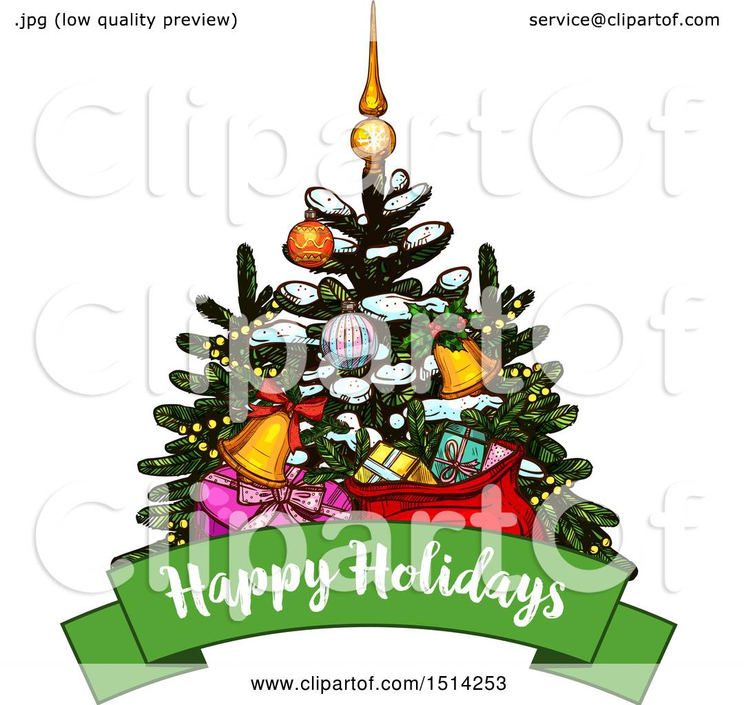 Clipart of a Christmas Tree with Gifts over a Happy Holidays Banner - Royalty Free Vector ...