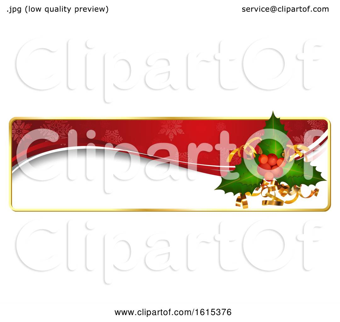 Christmas Header Clipart.Clipart Of A Christmas Website Banner Header With Holly