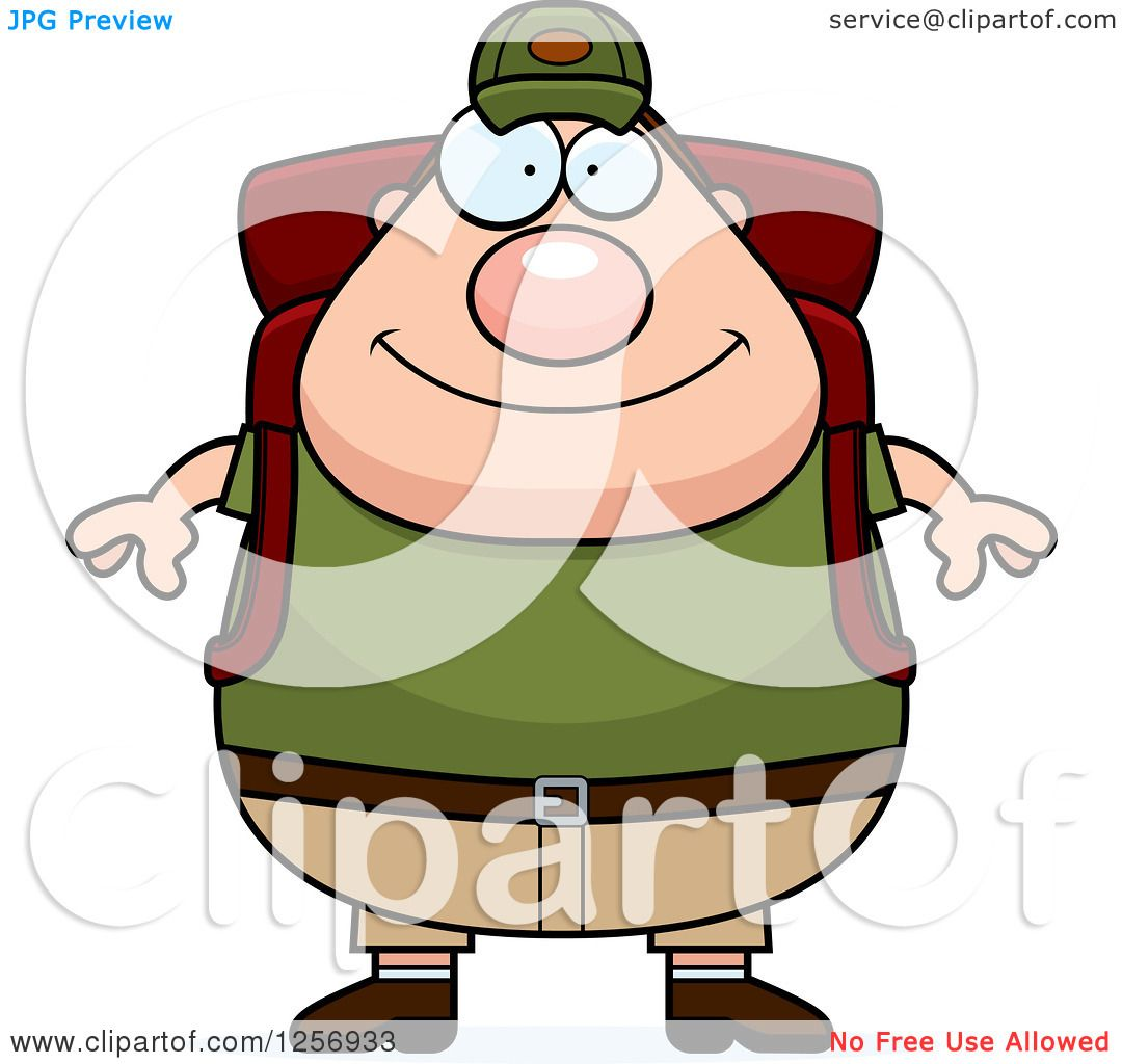Clipart Of A Chubby Caucasian Hiker Man With Camping Gear