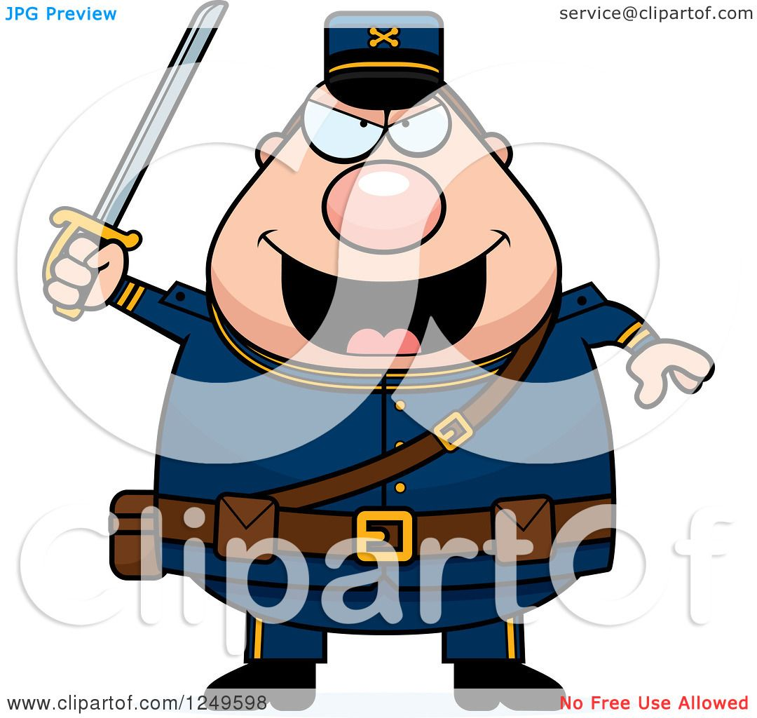 clipart of a chubby civil war union soldier man holding up a sword rh clipartof com civil war clipart images civil war cannon clipart