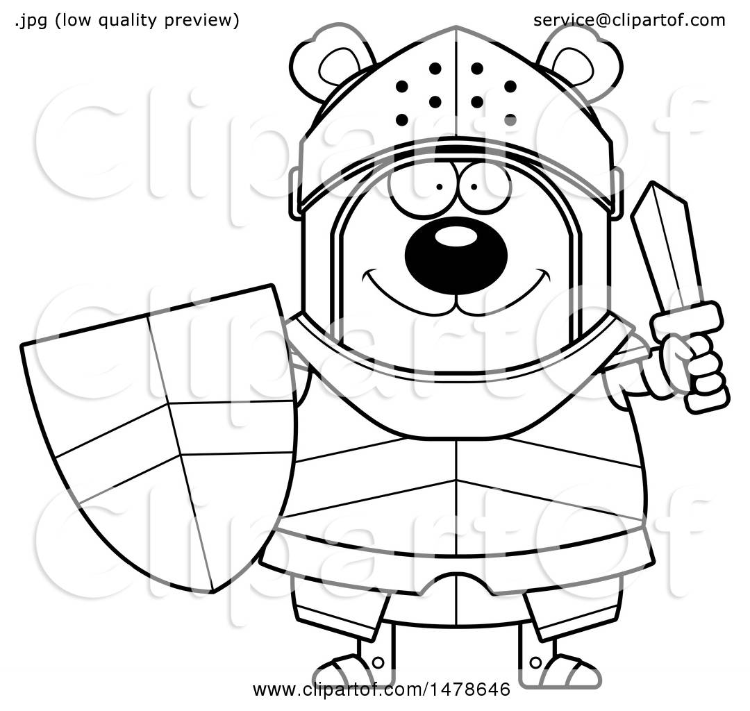 clipart of a chubby outline bear knight holding a shield and sword