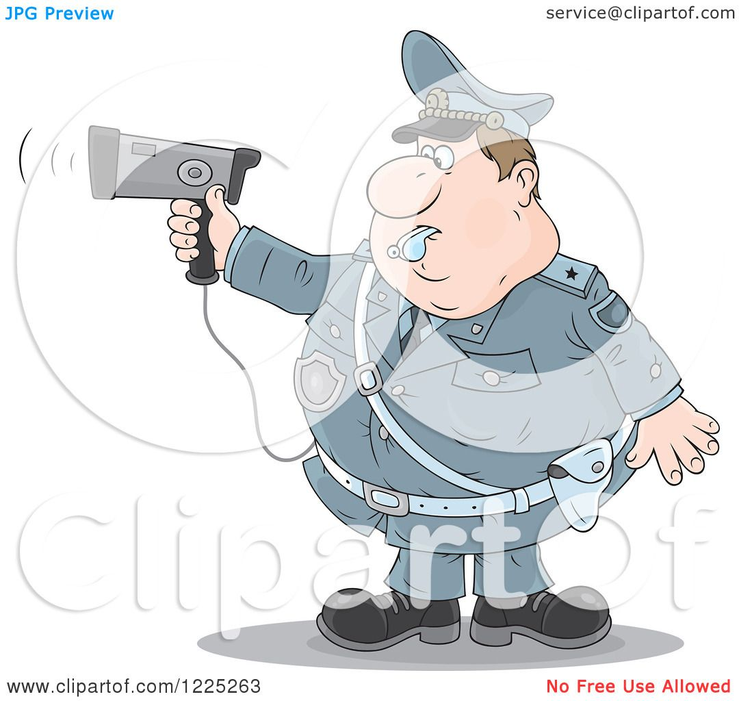 Clipart of a Chubby Police Offer